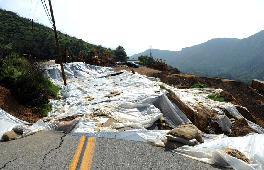 Photo of a landslide in Malibu CA