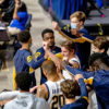 Photo of Cal Men's Basketball in a huddle