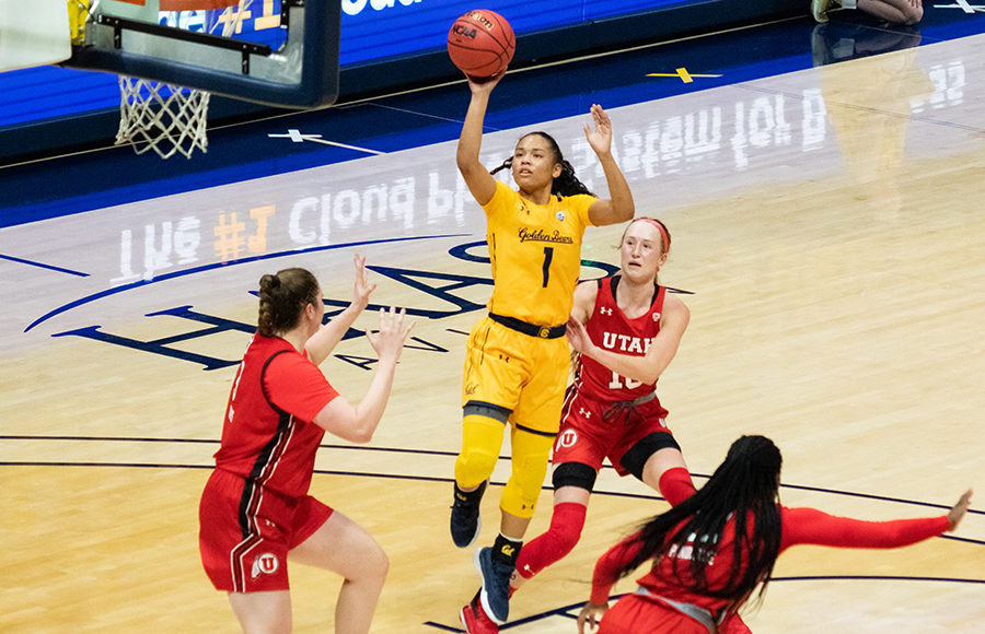 Photo of Leilani McIntosh of Cal Women's Basketball shooting a floater