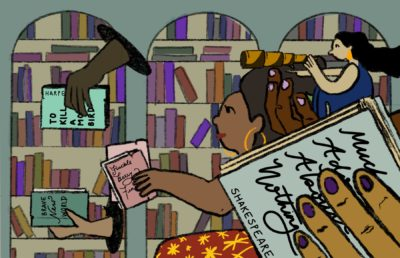 Illustration of a group of people holding up books commonly thought of as classics, against a backdrop of many other books in a library