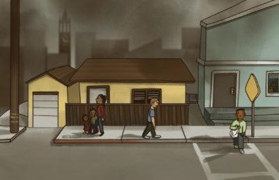 Illustration of people strolling around an ordinary Berkeley neighborhood, while thick pollution casts a gloomy atmosphere