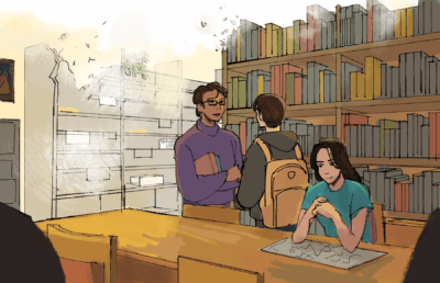 Illustration of students in the South / Southeast Asian Library as it fades away