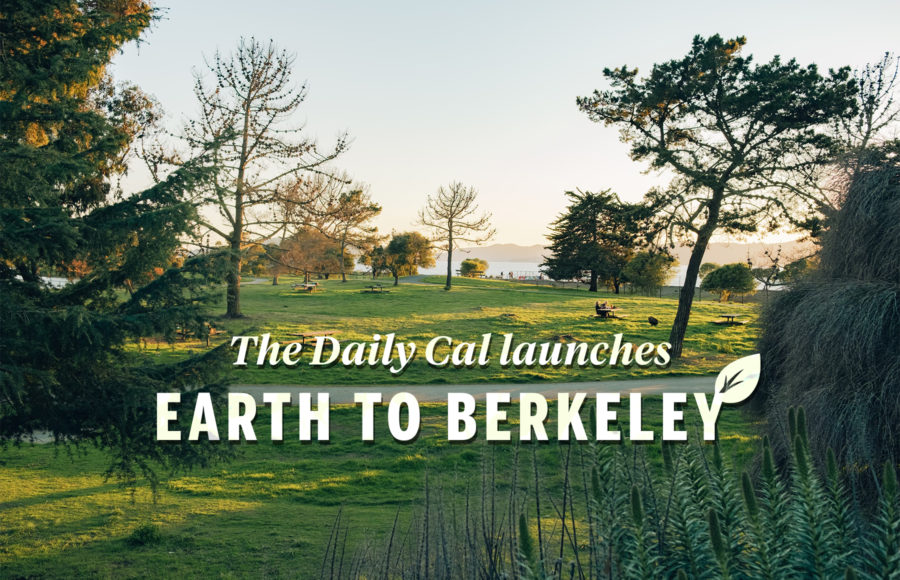 """A photo of a peaceful park and the text """"The Daily Cal launches Earth to Berkeley"""""""