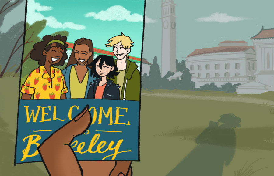 Illustration of a person contrasting a deserted UC Berkeley campus with the diverse group of students pictured on a brochure