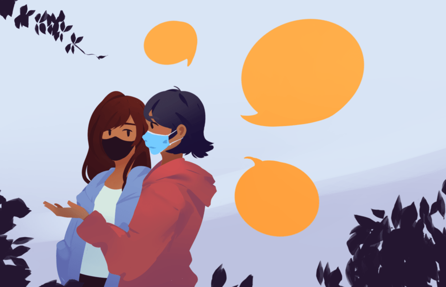Illustration of two friends talking an listening intently, wearing masks while strolling