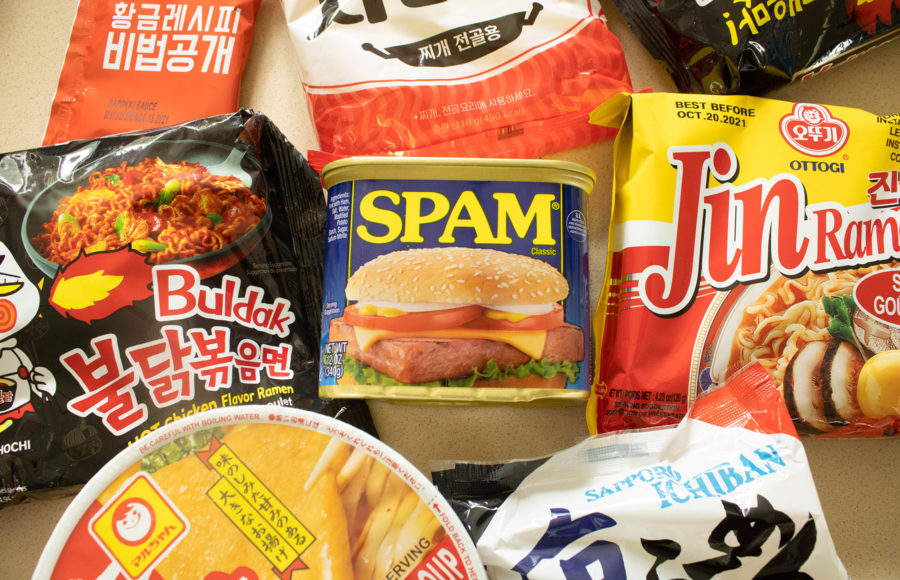 Photo of foods such as SPAM and Ramen with MSG in them