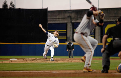 Photo of Cal Baseball pitcher throwing the baseball
