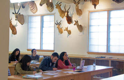 Photo of a CNR classroom with students listening to lecture