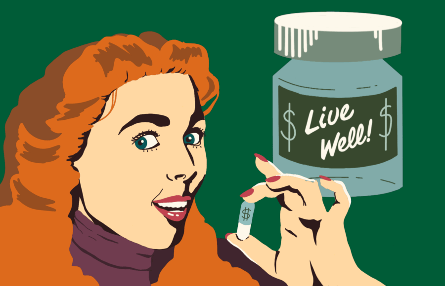 """Illustration of a woman holding up a pill with a dollar sign on it, with a bottle reading """"Live Well!"""" behind her"""
