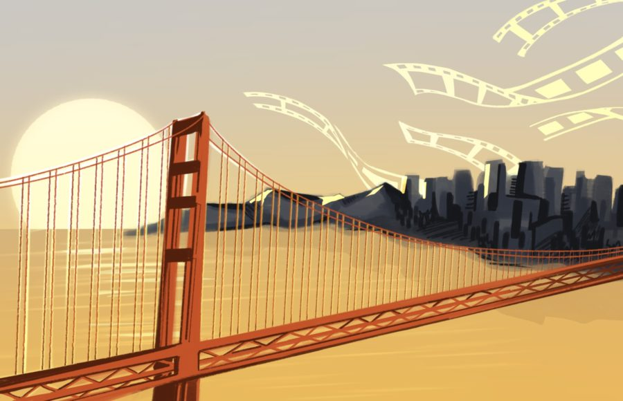 Illustration of the Golden Gate Bridge over the San Francisco Bay, with silhouettes of film reels in the sky
