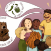 Illustration of a child proudly rattling off tongue twisters while others stare at her in awe