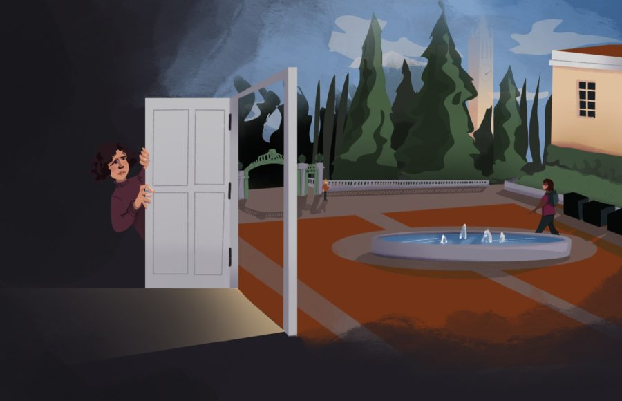 Illustration of a person warily peeking out of a door that leads to Sproul Plaza