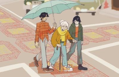Illustration of several young adults helping along an elderly Asian-American person as they walk through the streets