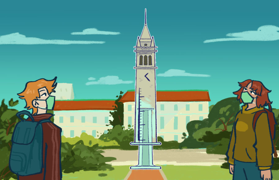 Illustration of two students wearing masks looking at the Campanile, half of which is in the shape of a vaccine syringe