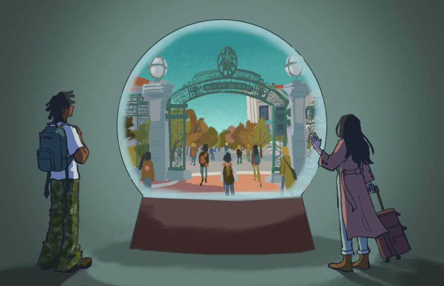 Illustration of the bustling UC Berkeley campus inside a snowglobe, while international students on the outside reach for it