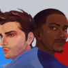 "Illustration of the characters Bucky Barnes and Sam Wilson from ""The Falcon and the Winter Soldier"" standing back to back"