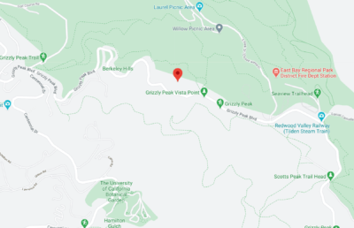 Screenshot of google maps with a marker at Grizzly Peak Vista Point