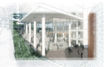 Rendering of Heathcock Hall