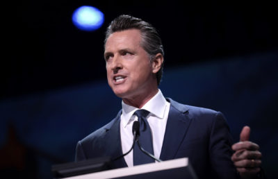 photo of governor Gavin Newsom giving a speech