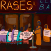Illustration of incorrect phrases being denied entry to a bar