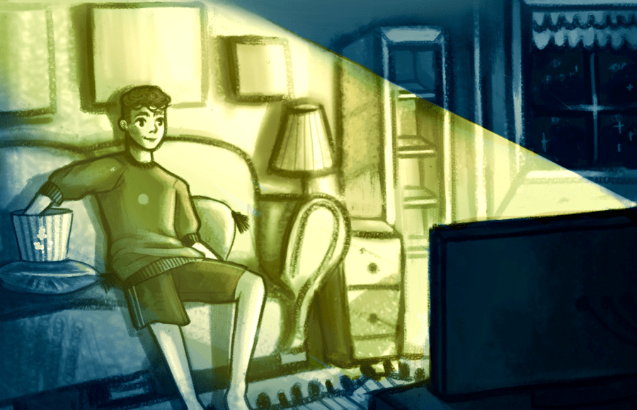 Illustration of a boy watching television at night