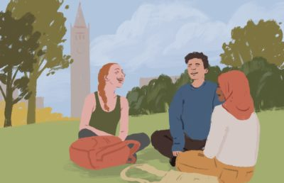 Illustration of students sitting in front of the Campanile
