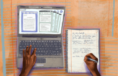 Illustration of a student studying with a laptop and notebook