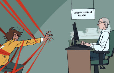 Illustration of a man trying to reach the unemployment relief desk