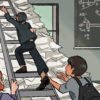 Illustration of a lecturer climbing a ladder supported by students
