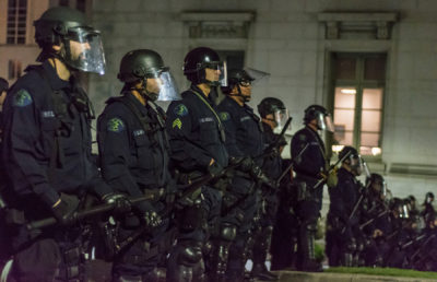Photo of police crowd control during 2017 protest