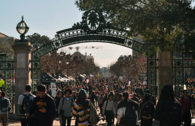 photo of Sather Gate with a large crowd