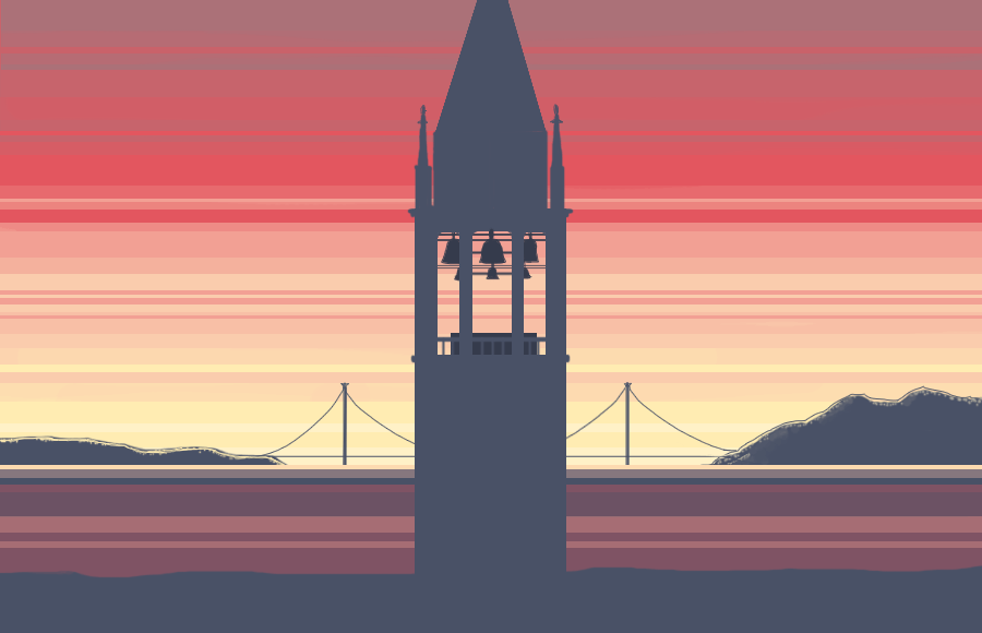 Illustration of the Campanile with the Golden Gate in the background