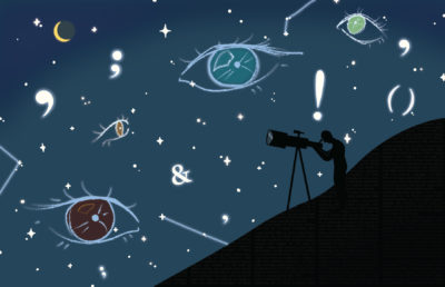 Illustration of a starry sky with eyes and grammar symbols