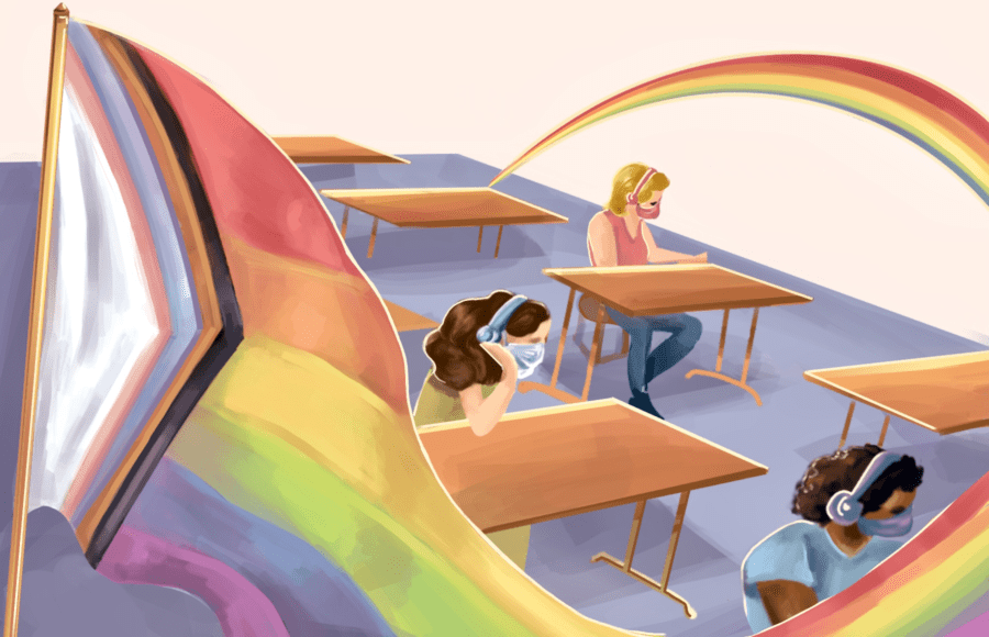 Illustration of a pride flag in a classroom of students
