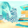 Illustration of a stressed out girl next to a stack of books
