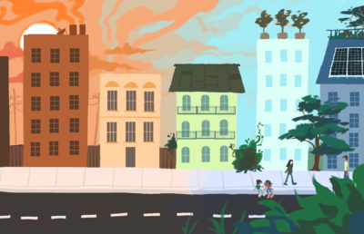 """Illustration of a neighborhood slowly becoming more """"green"""""""