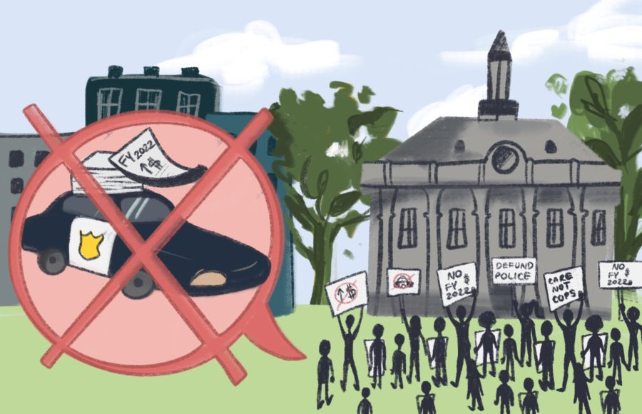 Illustration of a protest against police funding