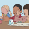 Illustration of children eating a school lunch