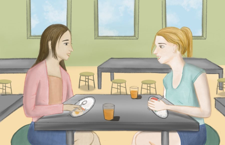 Illustration of people talking at a high school