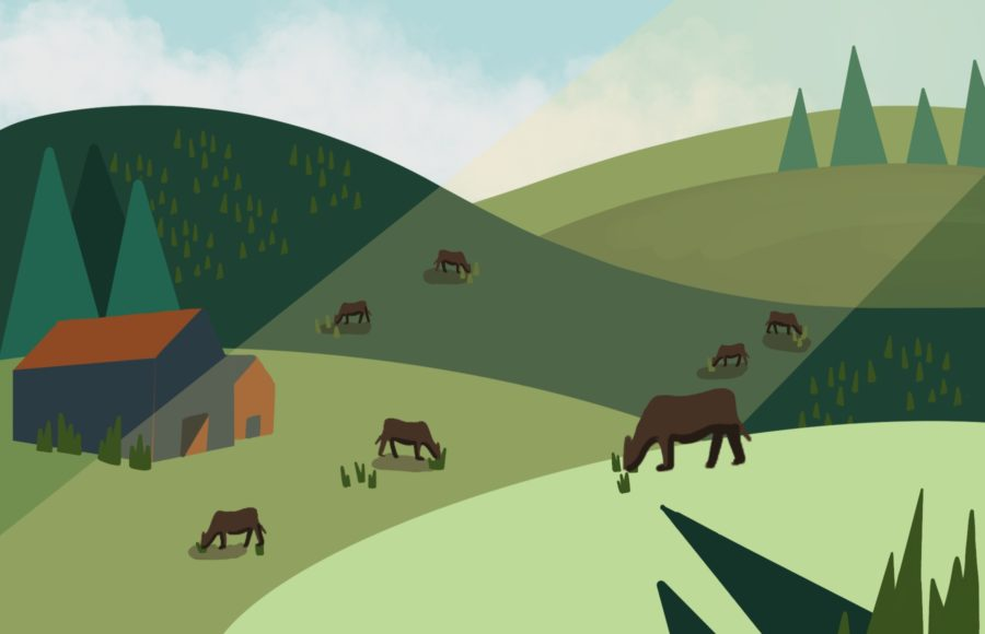 Illustration of grazing cows