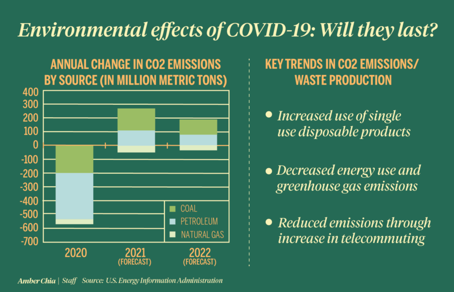 Infographic depicting environmental effects of COVID-19