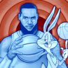 Illustration of Lebron James and Bugs Bunny from Space Jam