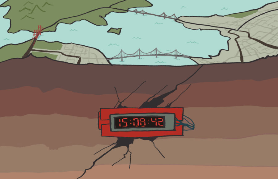 Illustration of the Bay Area under a ticking time bomb representing an earthquake