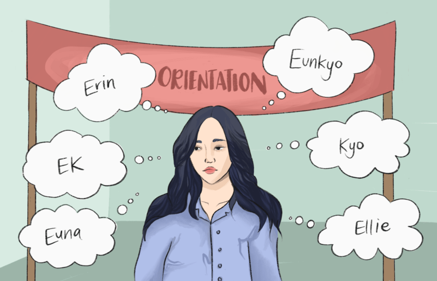 Illustration of a girl at orientation trying to pick a name