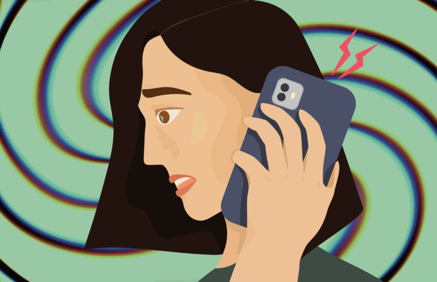 Illustration of a woman getting a spam call
