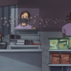 Illustration of working in grocery store with covid