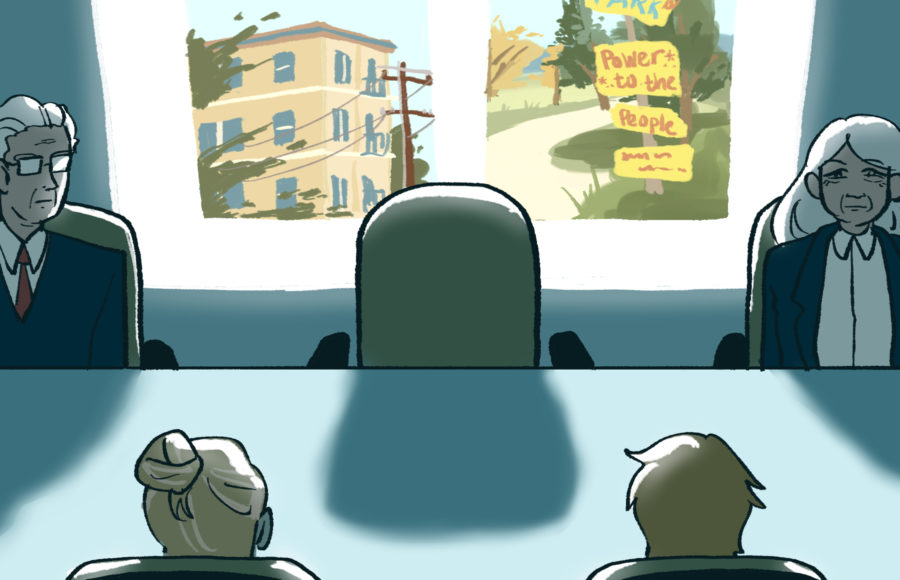 Illustration of a dark conference room with scenes from Berkeley in the background