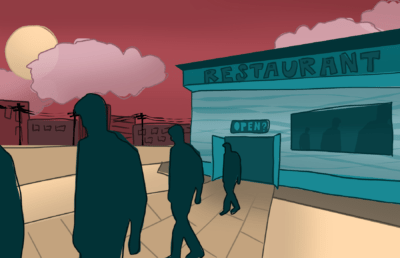 Illustration of people walking out of a restaurant