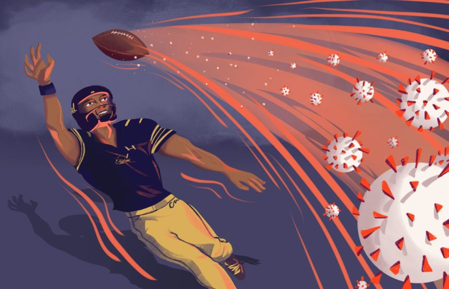 Illustration of a football player with viruses