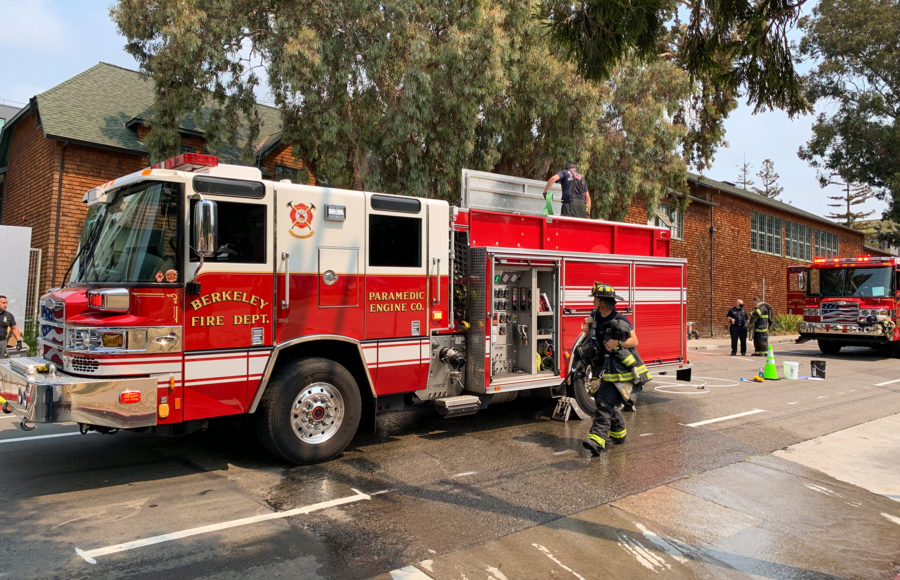 photo of a Berkeley Fire Department truck and some firefighters